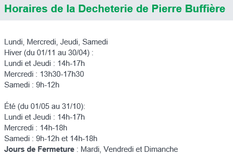 Horaires Pierre Buffiere