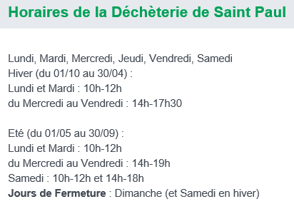 Horaires Saint-Paul